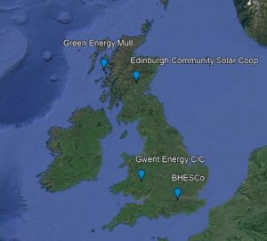 Map showing the locations of the community energy projects