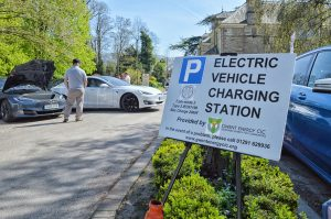 Car park with electric vehicle charging station sign