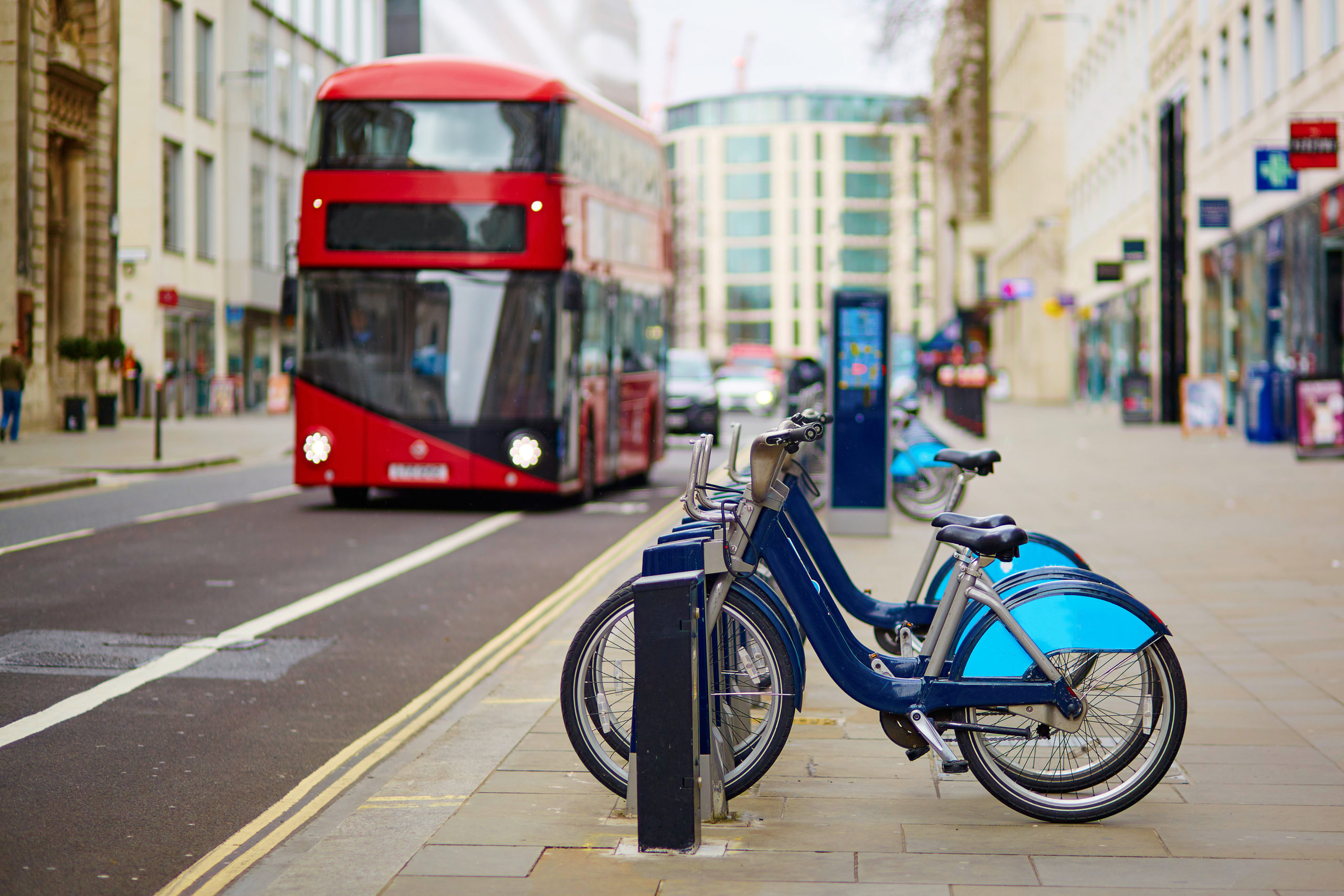 London Bus with city bikes